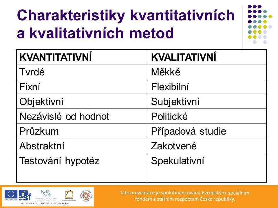 Charakteristiky kvantitativních a kvalitativních metod