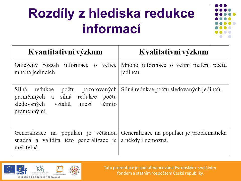 Rozdíly z hlediska redukce informací