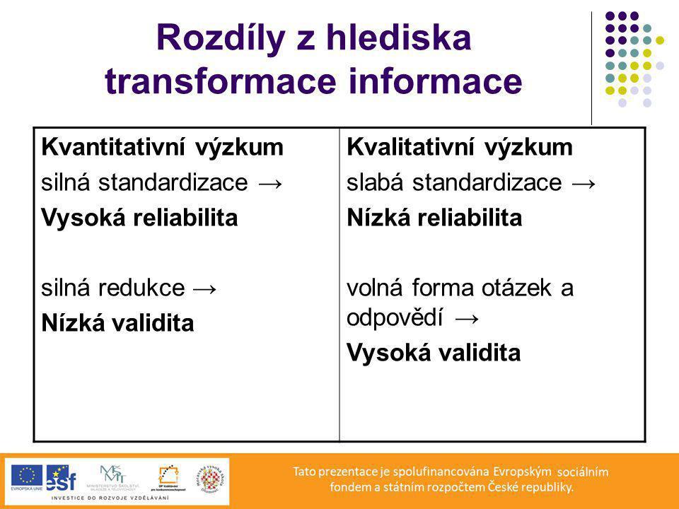 Rozdíly z hlediska transformace informace