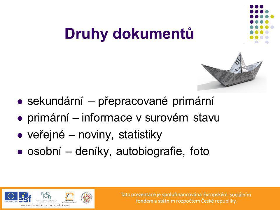Druhy dokumentů sekundární – přepracované primární