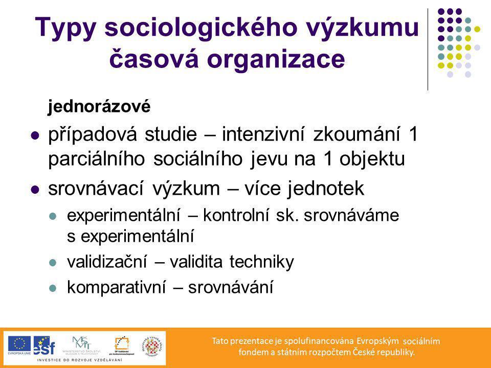 Typy sociologického výzkumu časová organizace