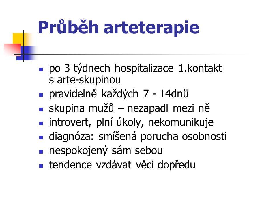 Průběh arteterapie po 3 týdnech hospitalizace 1.kontakt s arte-skupinou. pravidelně každých 7 - 14dnů.