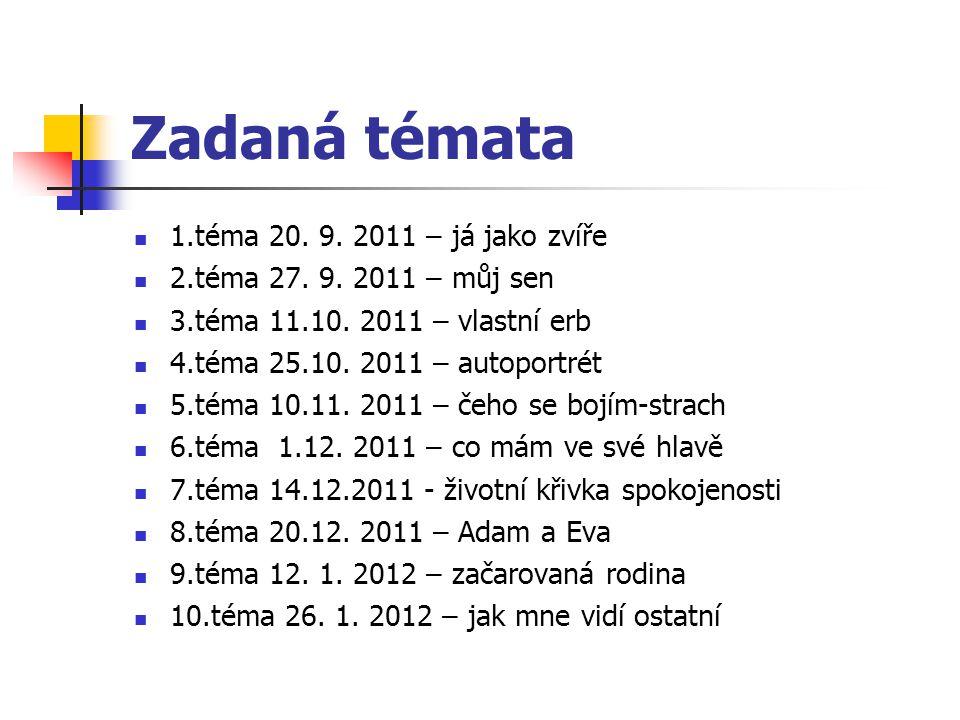 Zadaná témata 1.téma 20. 9. 2011 – já jako zvíře