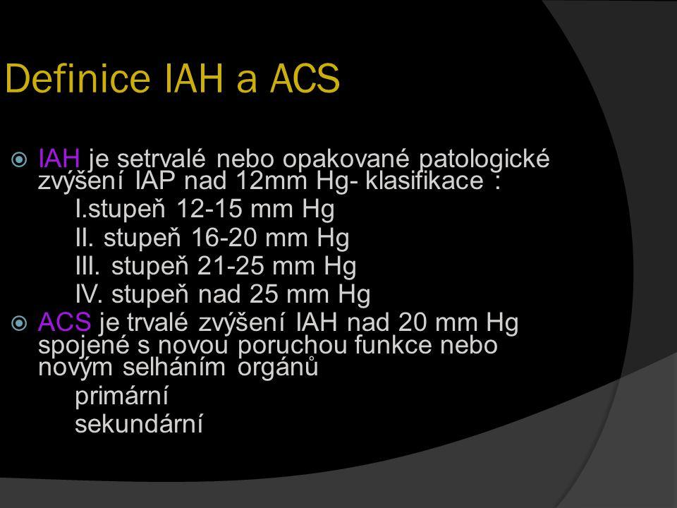 Definice IAH a ACS IAH je setrvalé nebo opakované patologické zvýšení IAP nad 12mm Hg- klasifikace :