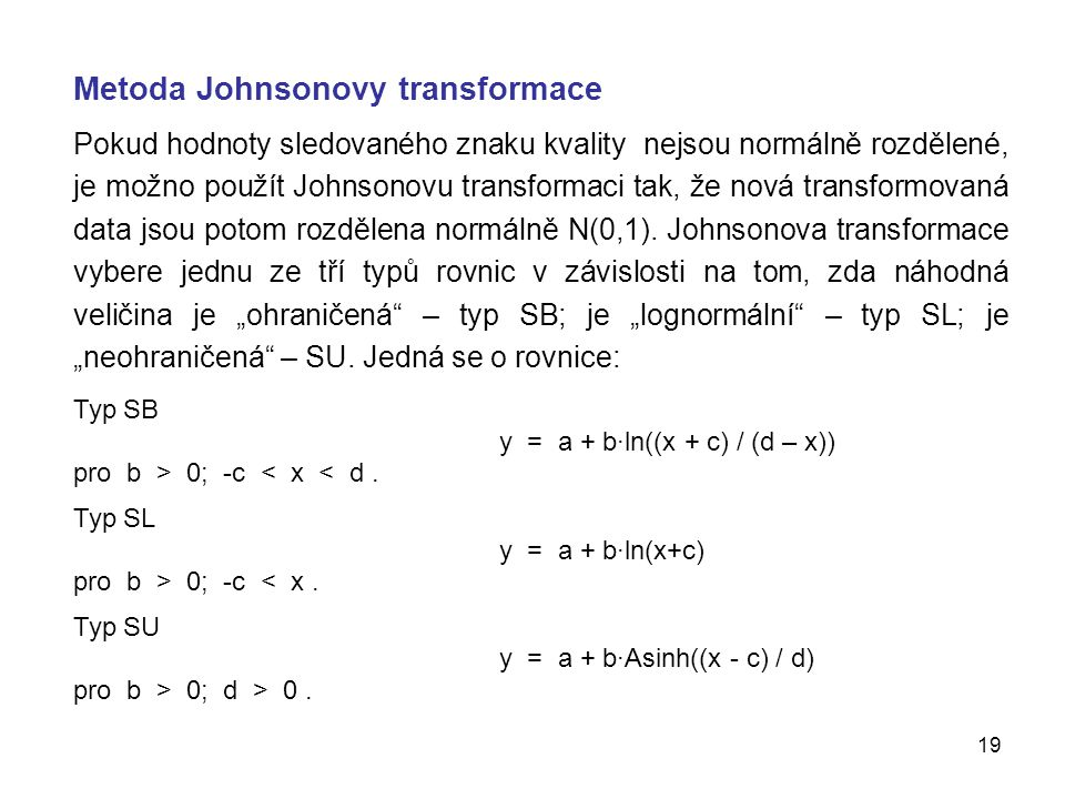 Metoda Johnsonovy transformace