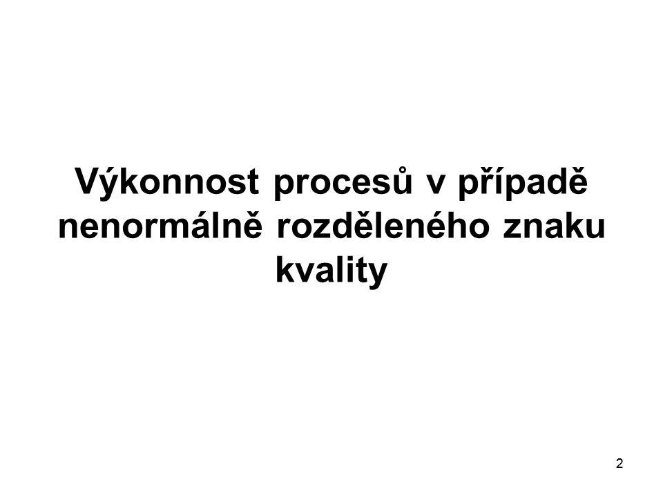 Výkonnost procesů v případě nenormálně rozděleného znaku kvality
