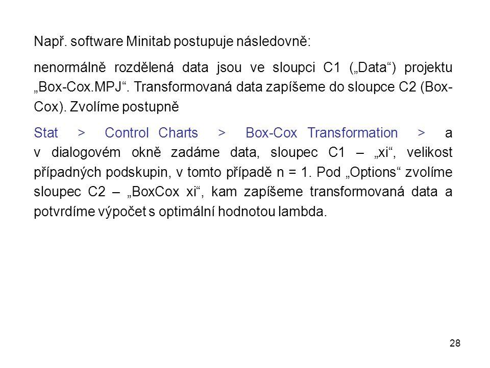 Např. software Minitab postupuje následovně: