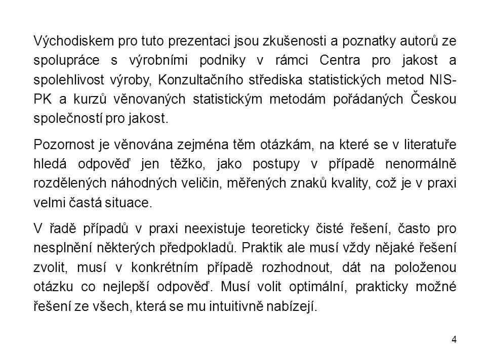 Východiskem pro tuto prezentaci jsou zkušenosti a poznatky autorů ze spolupráce s výrobními podniky v rámci Centra pro jakost a spolehlivost výroby, Konzultačního střediska statistických metod NIS-PK a kurzů věnovaných statistickým metodám pořádaných Českou společností pro jakost.