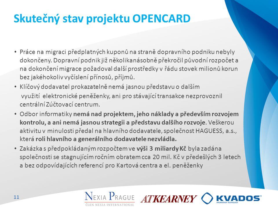 Skutečný stav projektu OPENCARD