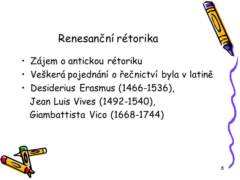 Renesanční rétorika Zájem o antickou rétoriku