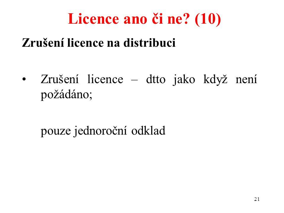 Licence ano či ne (10) Zrušení licence na distribuci