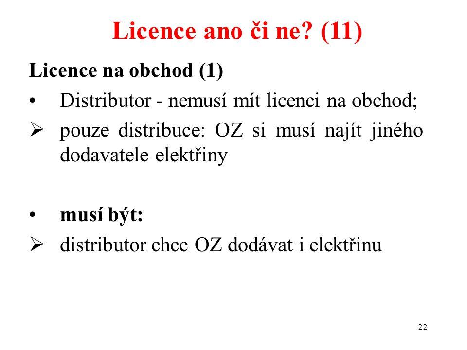 Licence ano či ne (11) Licence na obchod (1)