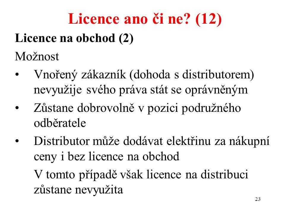 Licence ano či ne (12) Licence na obchod (2) Možnost