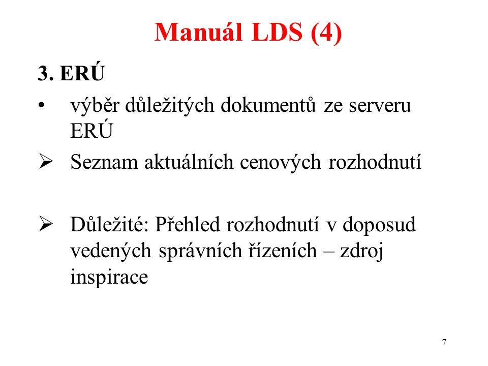 Manuál LDS (4) 3. ERÚ výběr důležitých dokumentů ze serveru ERÚ