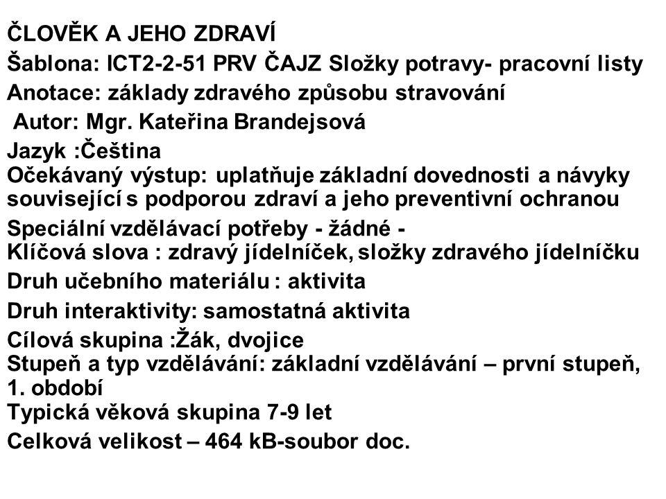 ČLOVĚK A JEHO ZDRAVÍ Šablona: ICT2-2-51 PRV ČAJZ Složky potravy- pracovní listy. Anotace: základy zdravého způsobu stravování.