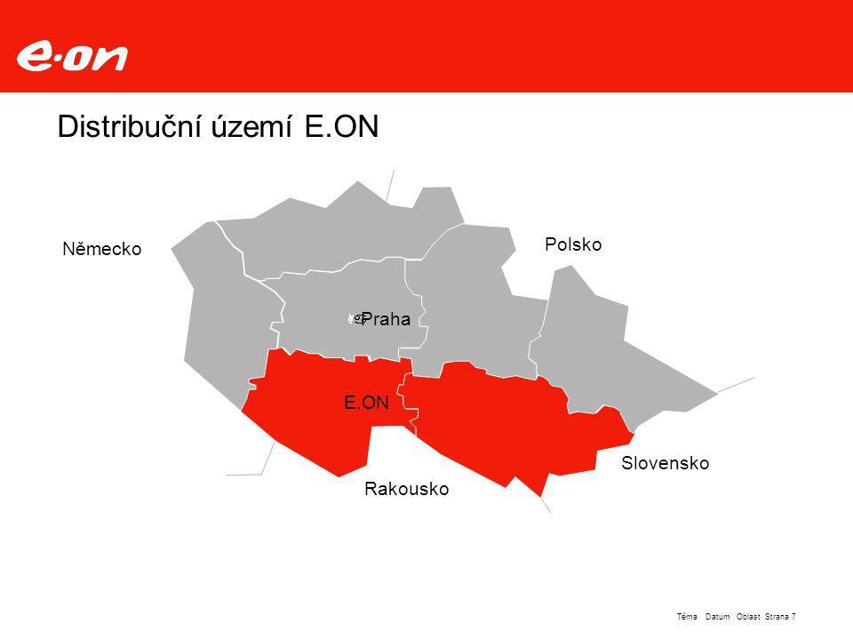 Distribuční území E.ON Polsko Německo Praha E.ON Slovensko Rakousko