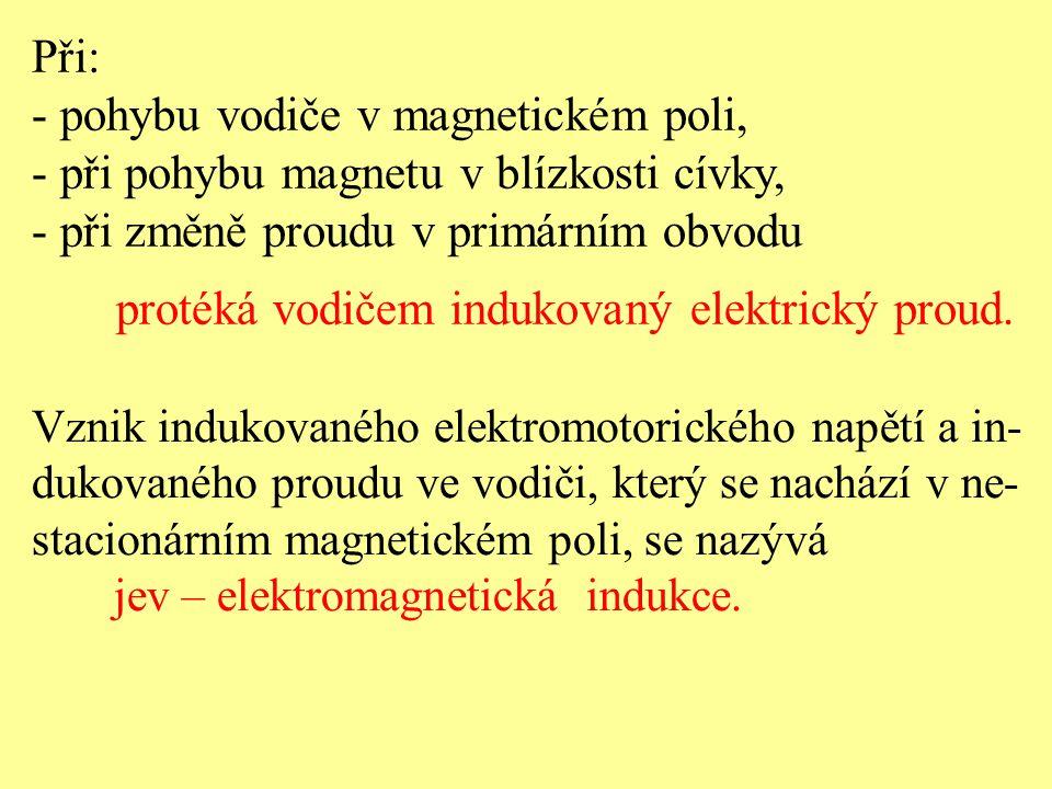 - pohybu vodiče v magnetickém poli,