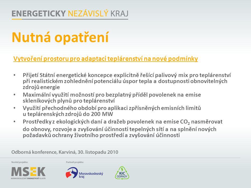 Nutná opatření Vytvoření prostoru pro adaptaci teplárenství na nové podmínky.