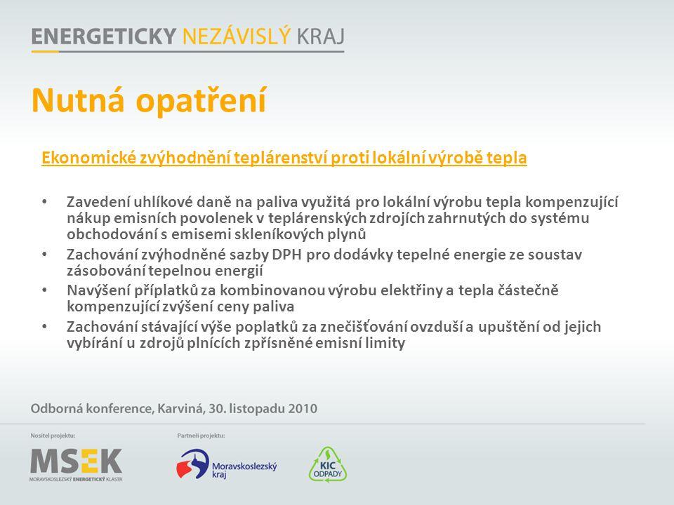 Nutná opatření Ekonomické zvýhodnění teplárenství proti lokální výrobě tepla.