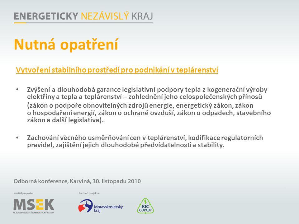 Nutná opatření Vytvoření stabilního prostředí pro podnikání v teplárenství.