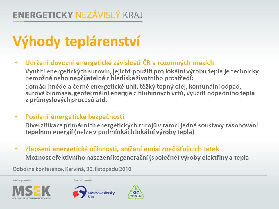 Výhody teplárenství Udržení dovozní energetické závislosti ČR v rozumných mezích.