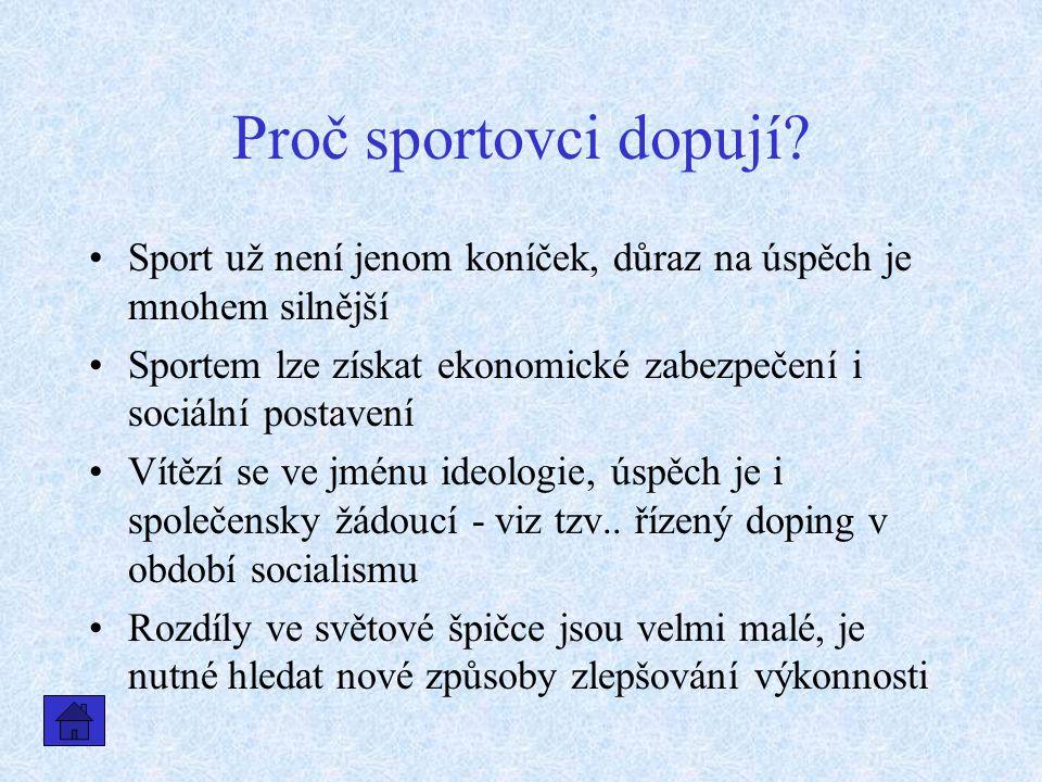 Proč sportovci dopují Sport už není jenom koníček, důraz na úspěch je mnohem silnější.