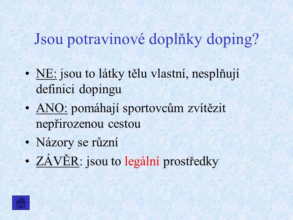 Jsou potravinové doplňky doping