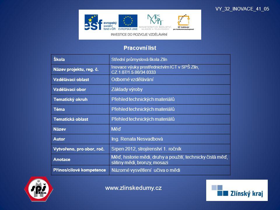 www.zlinskedumy.cz Pracovní list VY_32_INOVACE_41_05