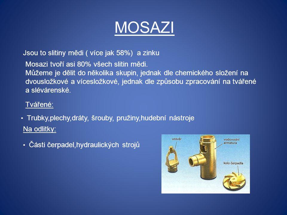 MOSAZI Jsou to slitiny mědi ( více jak 58%) a zinku