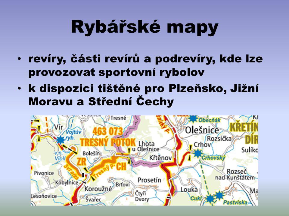 Rybářské mapy revíry, části revírů a podrevíry, kde lze provozovat sportovní rybolov.