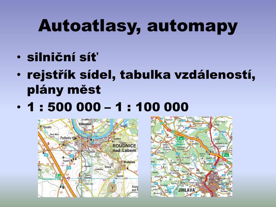 Autoatlasy, automapy silniční síť