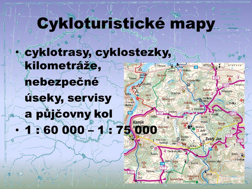 Cykloturistické mapy cyklotrasy, cyklostezky, kilometráže, nebezpečné