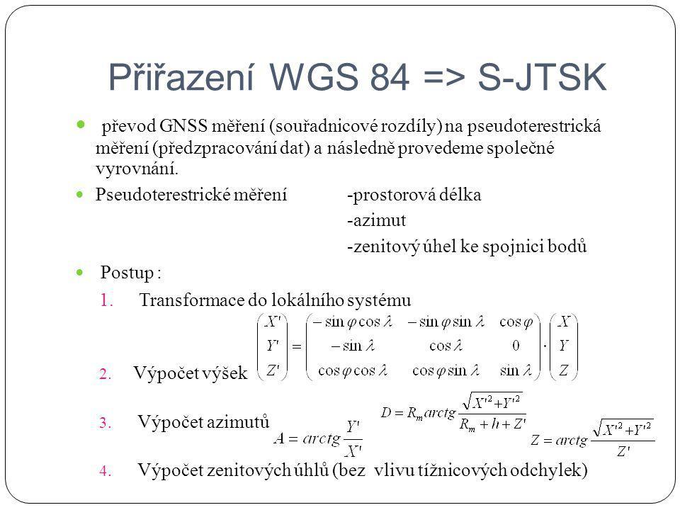 Přiřazení WGS 84 => S-JTSK
