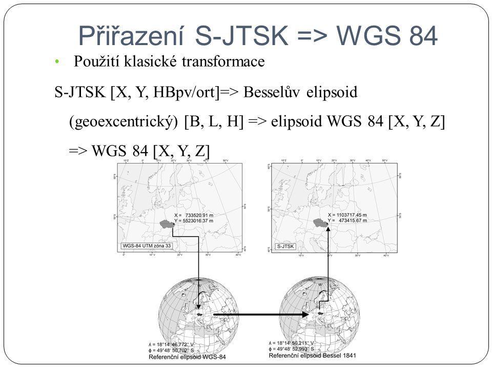 Přiřazení S-JTSK => WGS 84