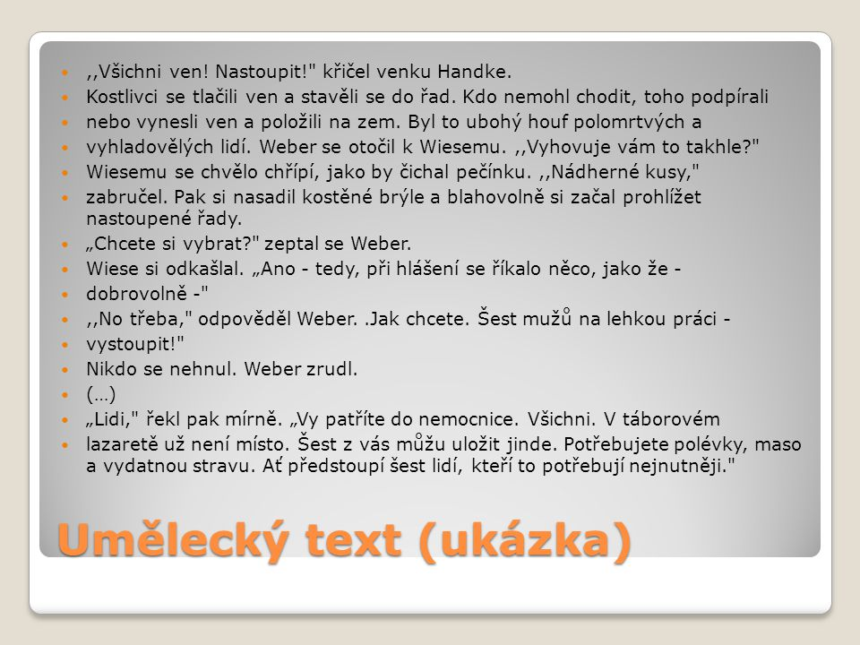 Umělecký text (ukázka)