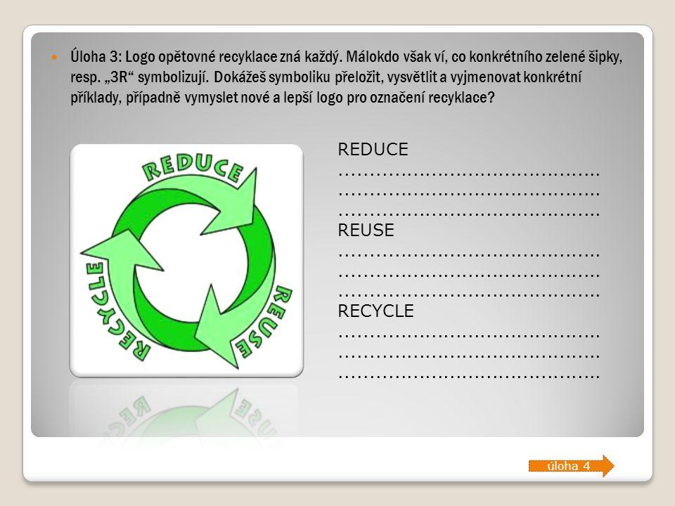 Úloha 3: Logo opětovné recyklace zná každý
