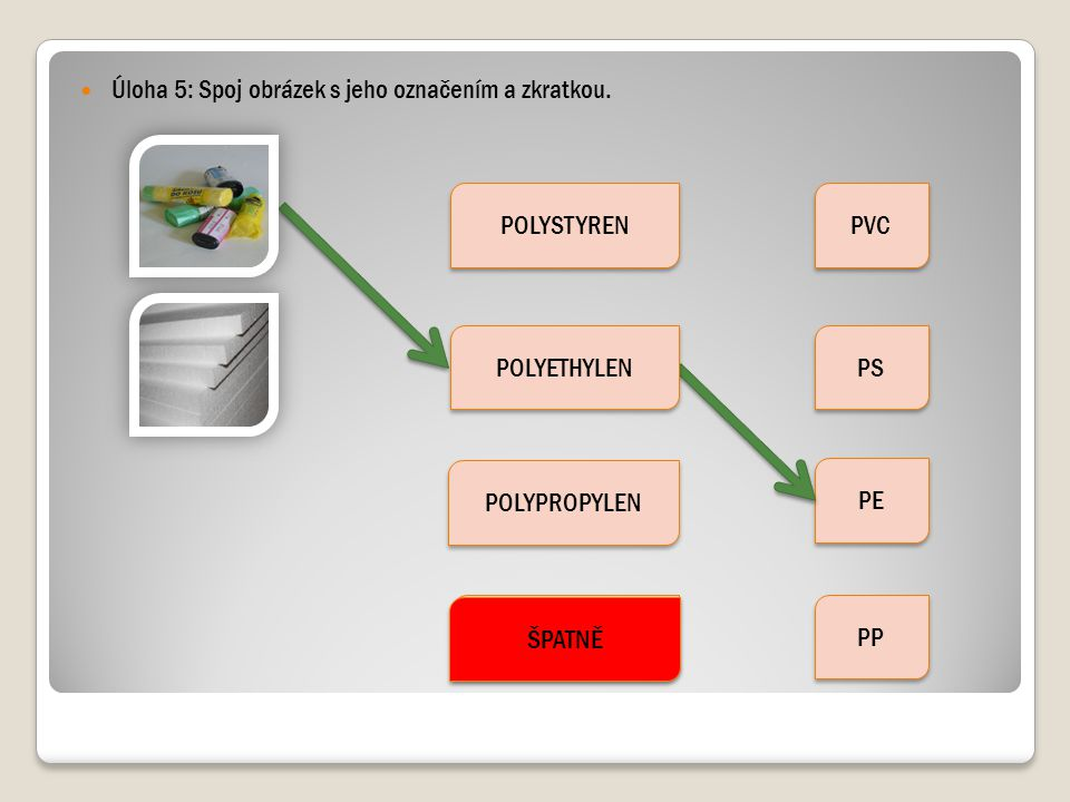 Úloha 5: Spoj obrázek s jeho označením a zkratkou.