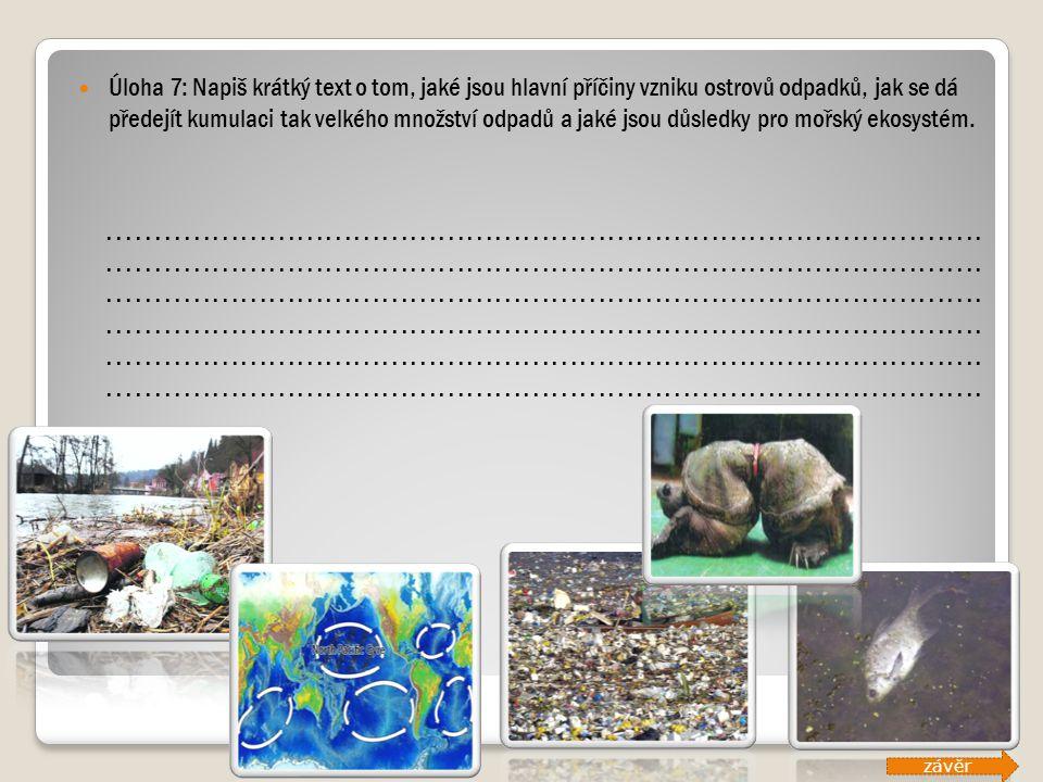 Úloha 7: Napiš krátký text o tom, jaké jsou hlavní příčiny vzniku ostrovů odpadků, jak se dá předejít kumulaci tak velkého množství odpadů a jaké jsou důsledky pro mořský ekosystém.
