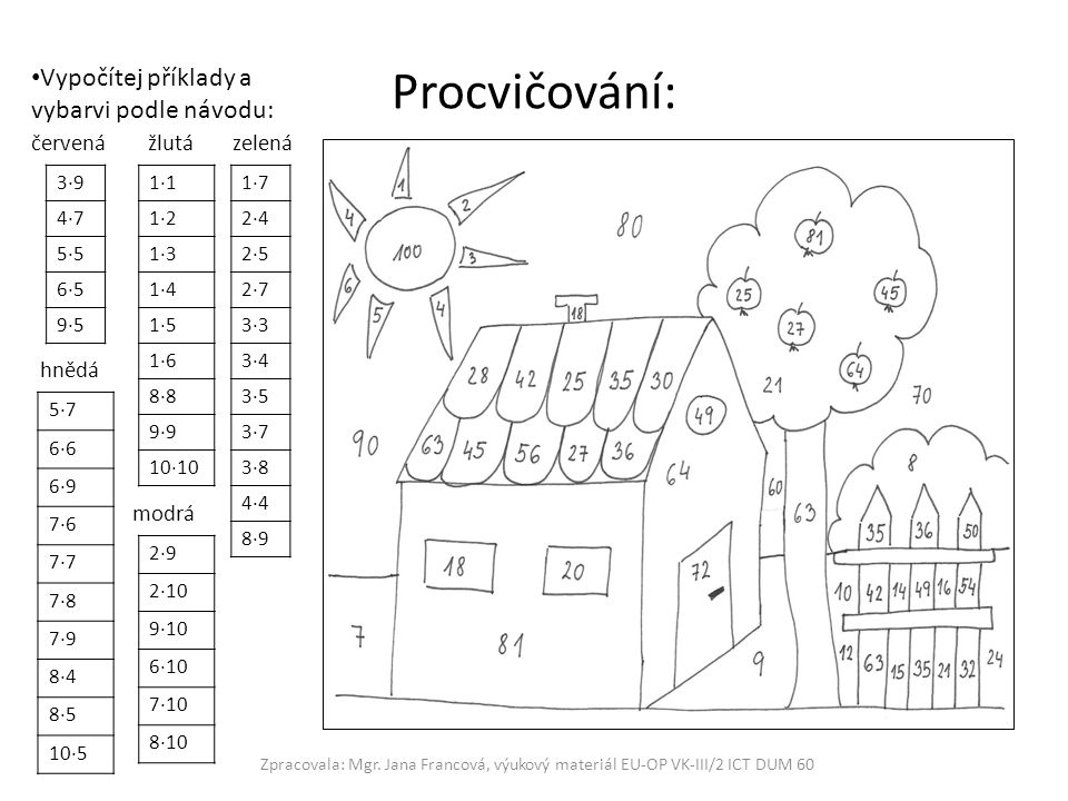 Procvičování: Vypočítej příklady a vybarvi podle návodu: