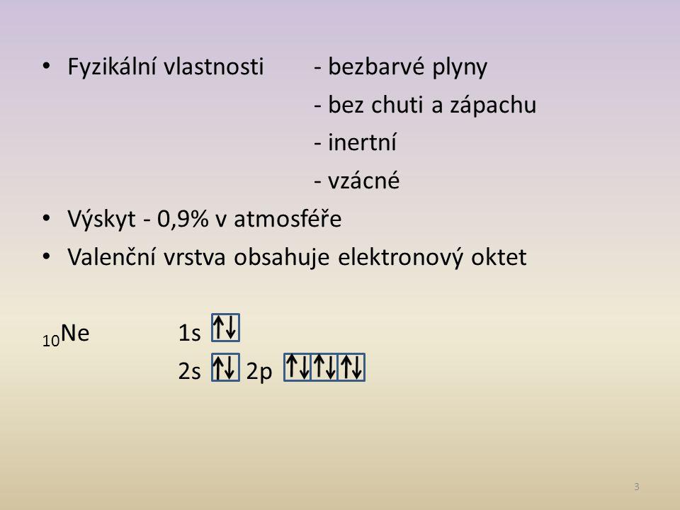 Fyzikální vlastnosti - bezbarvé plyny
