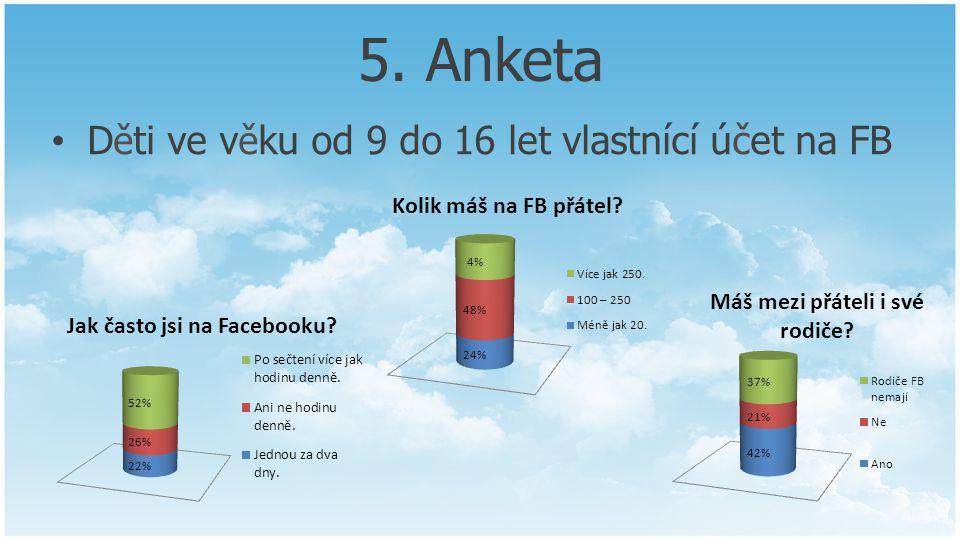 5. Anketa Děti ve věku od 9 do 16 let vlastnící účet na FB