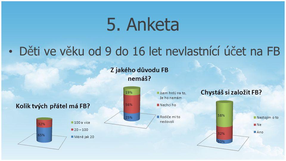 5. Anketa Děti ve věku od 9 do 16 let nevlastnící účet na FB