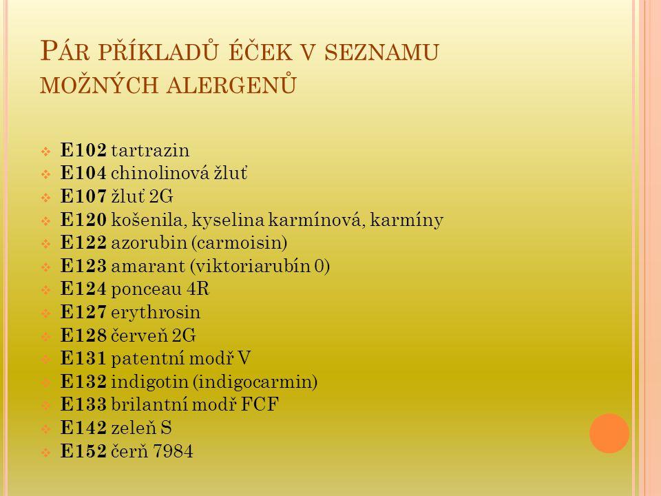 Pár příkladů éček v seznamu možných alergenů
