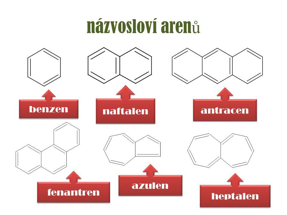 názvosloví arenů naftalen antracen benzen azulen fenantren heptalen