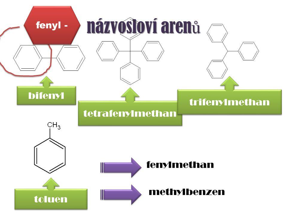 názvosloví arenů fenyl - bifenyl trifenylmethan tetrafenylmethan