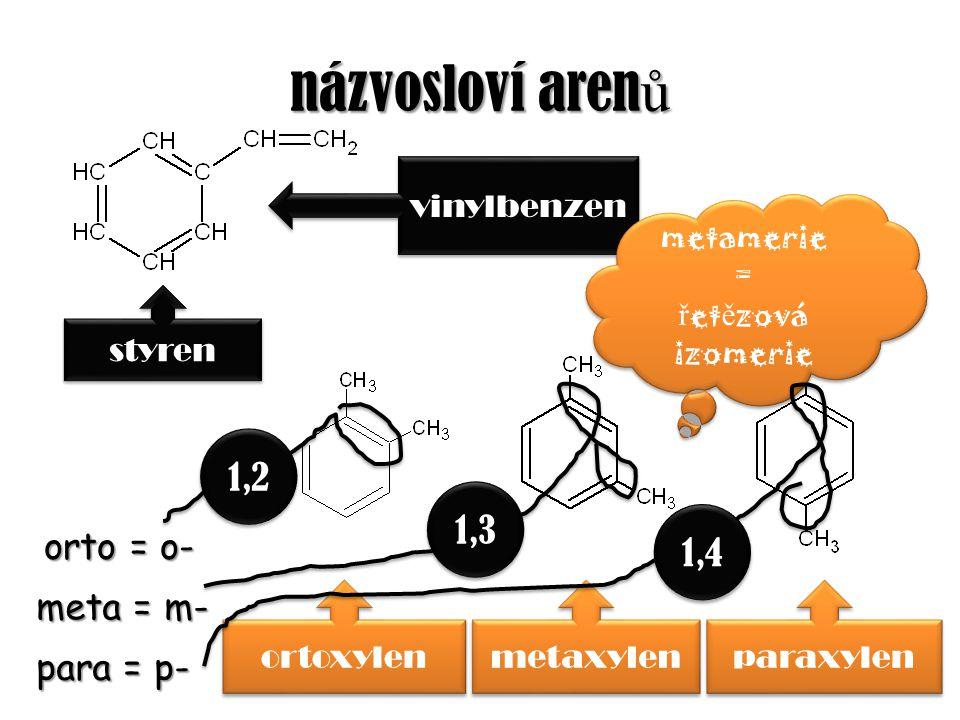 názvosloví arenů 1,2 1,3 1,4 orto = o- meta = m- para = p- vinylbenzen
