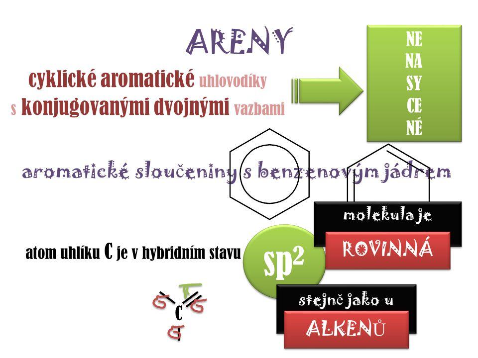 sp2 ARENY cyklické aromatické uhlovodíky