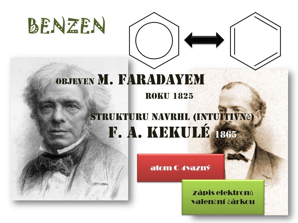 BENZEN F. A. Kekulé 1865 strukturu navrhl (intuitivně)