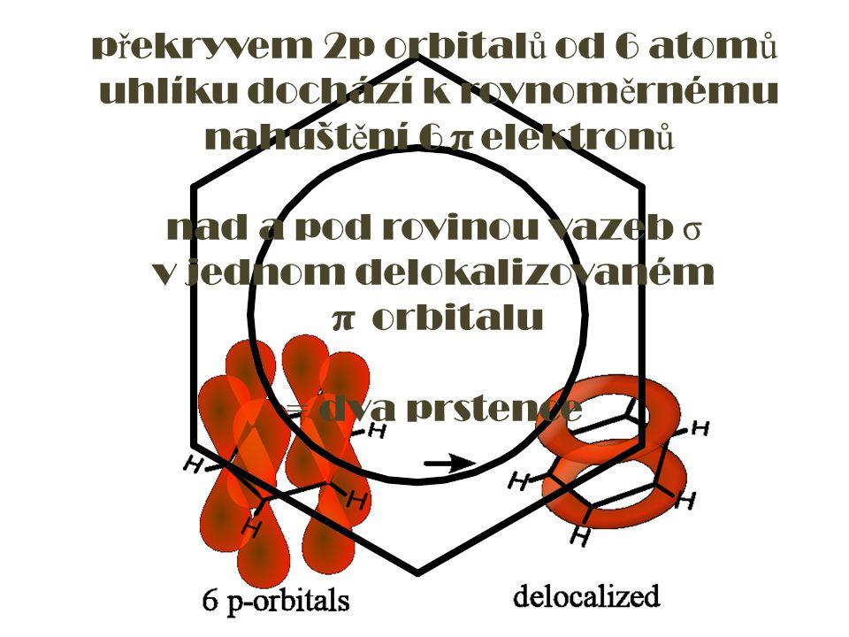 překryvem 2p orbitalů od 6 atomů uhlíku dochází k rovnoměrnému