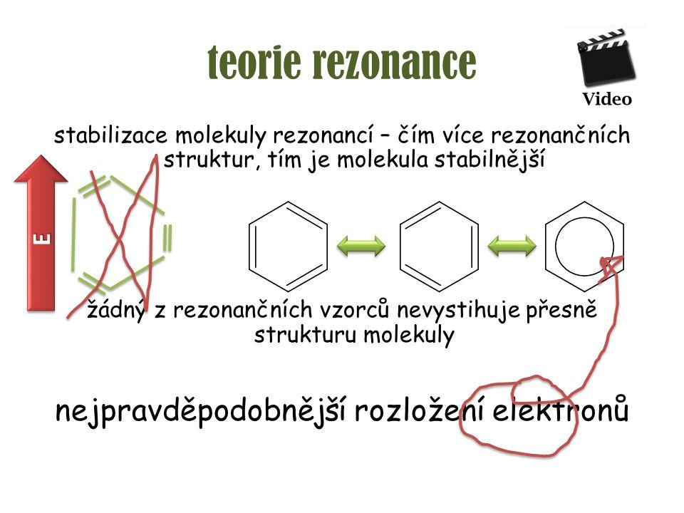 teorie rezonance nejpravděpodobnější rozložení elektronů E